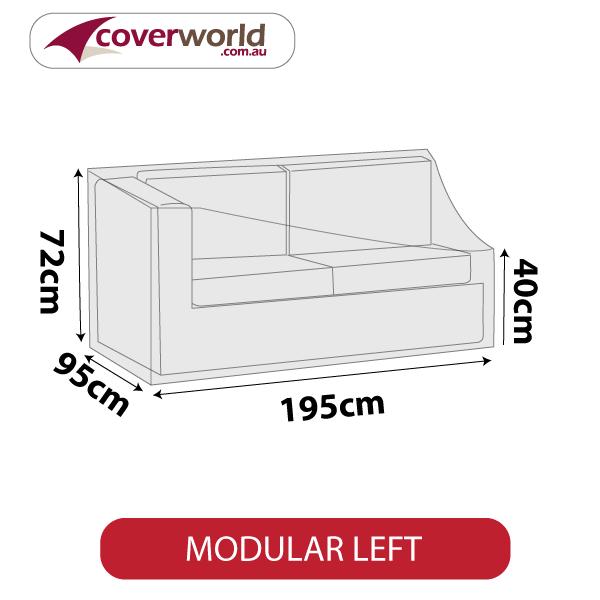 Modular Sofa Section Cover - Length 195cm - No Left Armrest