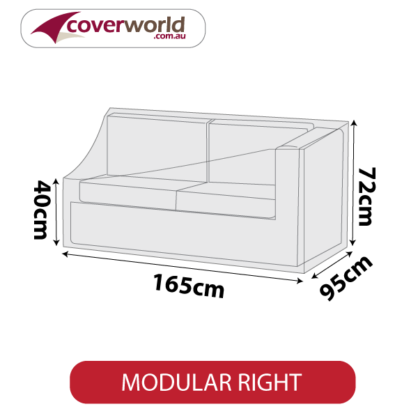 Modular Sofa Section Cover - Length 165cm - No Right Armrest