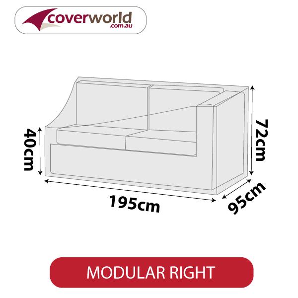 Modular Sofa Section Cover - Length 195cm - No Right Armrest