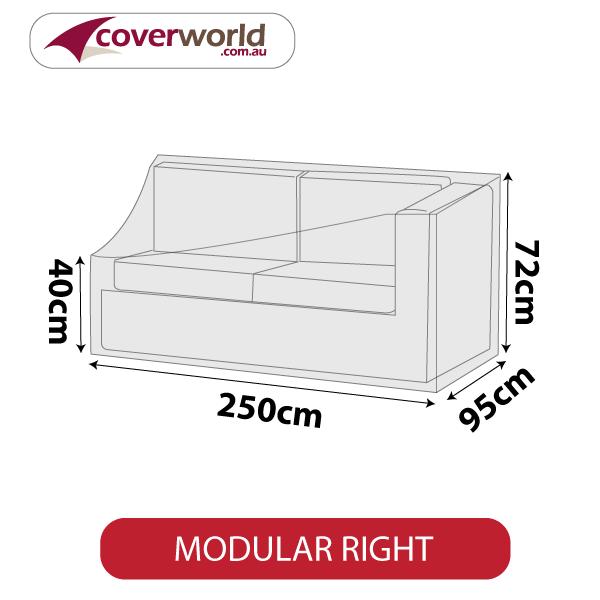 Modular Sofa Section Cover - Length 250cm - No Right Armrest