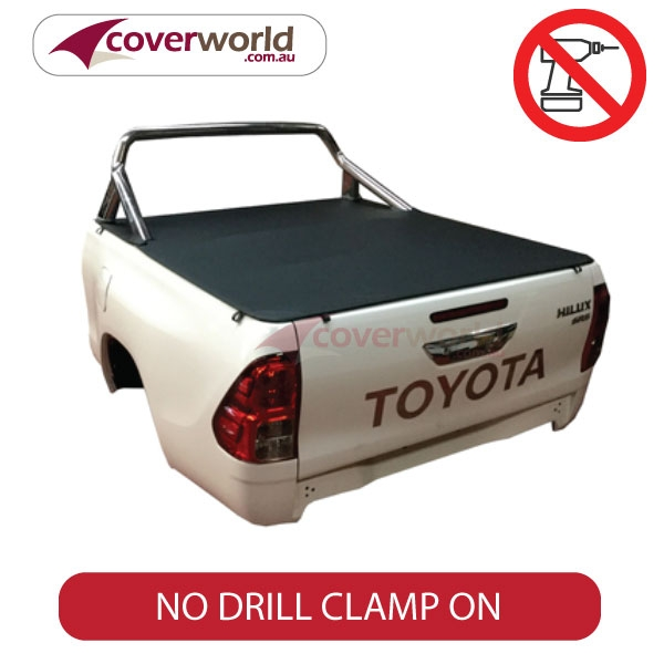 hilux a deck extra cab genuine no drill clip on tonneau cover - to suits sports bar