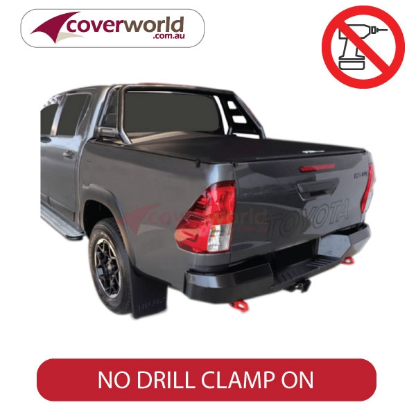 hilux a deck dual cab genuine no drill clip on tonneau cover - to with rugged sports bar