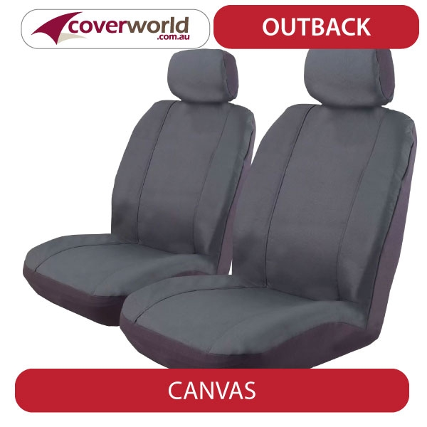 Seat Covers Canvas - Amarok Dual Cab 2H Series (TSI300 - TSI340 - TDI400 - TDI420) - Custom Fit - Front and Rear Seats - Airbag Compatible Soft Velour with 3mm Foam Padding