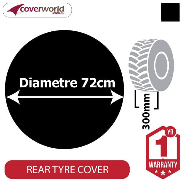720mm Diametre x 300mm Depth - Spare Tyre Cover - Heavy Duty Black Vinyl