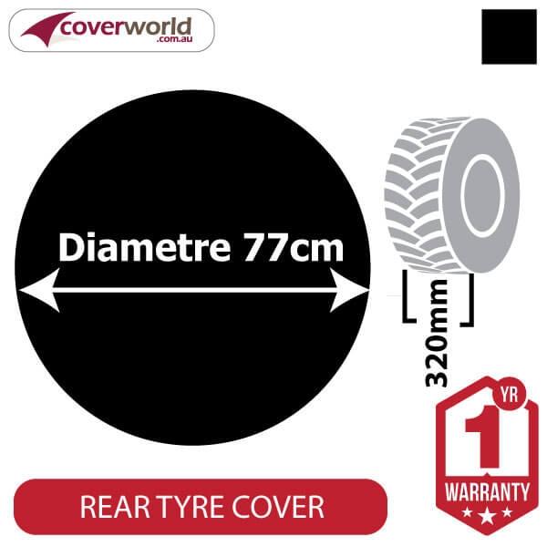 770mm Diametre x 320mm Depth - Spare Tyre Cover - Heavy Duty Black Vinyl