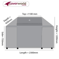Hooded BBQ Outdoor Kitchen Cover 230cm Length