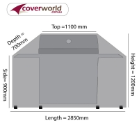 Hooded BBQ Outdoor Kitchen Cover 285cm Length