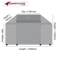 Hooded BBQ and Outdoor Kitchen Cover 315cm Length