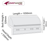 Built In BBQ Grill Cover 105cm Length